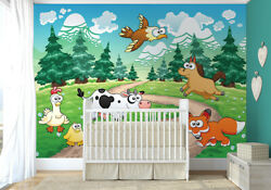 100x72 Inch Childrens Bedroom Wall Decor Wall Mural Photo Wallpaper Animals