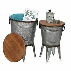 Farmhouse Accent Side Table, Rustic Antique End Coffee Or Cocktail Galvanized