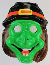 Vintage Wicked Green Witch Halloween Mask Ben Cooper Style
