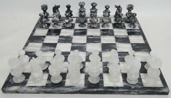 Chess Set Vintage Onyx Marble Complete Board Game 2½ King 14 Board