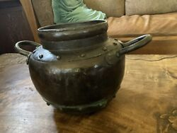 Stickley Brothers Hammered Copper Handled Jardiniere Original Patina