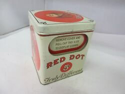 Vintage Advertising Empty Red Dot Cigar Store Counter Display Tobacco Tin A-803