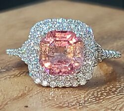 14k White Gold Engagement Ring 2.70ct.natural Pink Peach Tourmaline Radiant Cut