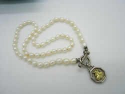 Estate Slane And Slane Sterling Silver 18k Gold Pearl Bee Toggle Clasp Necklace