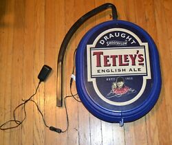 Double Sided Lighted Tetleyand039s English Ale Sign W/ Bracket