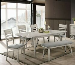 Transitional Vintage Chalk Finish 6pc Dining Set Table Chair Bench Furniture New