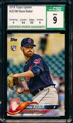 2018 Topps Update Us198 Shane Bieber Rc Cleveland Indians Csg 9 Mint W/ Subs E