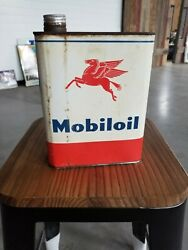 Vintage Mobil 1/2 Gallon Foreign Oil Can Inv87 Solid