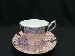 Vintage Queen Anne Bone China Tea Cup Saucer Gilt And Pink