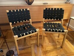 Two Alvar Aalto 611 Webbed Dining Chairs
