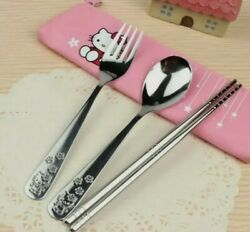 HELLO KITTY UTENSILS SET INCLUDE FORK SPOON CHOPSTICK amp; POUCH SHIP FROM USA