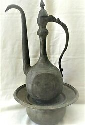 Antique Washing Hands Pither And Water Container Bowl Qajar Middleast 18th Century