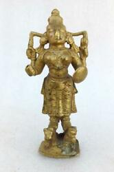 Antique Old Rare Hand Carved Brass Hindu Goddess Durga Kali With Weapon Statue
