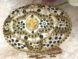 Emerald Faberge Egg Trinket Box Gift For Her 24k Gold Musical One Of A Kind Hmde