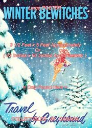 Travel 1960's = Figure Skating Greyhound = Poster Very Large 3 1/2 X 5 Feet Long