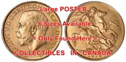 King George V 1916 Gold Sovereign Horse Dragon = Poster Coin 6 Sizes 17 - 7 Ft