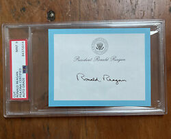 President Ronald Reagan Signed White House Post-it Note Psa Mint 9 Auto Slabbed