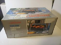 New Open Box Vtg Sunbeam 1120 Electric Tabletop Grill Patio Camp Portable Usa