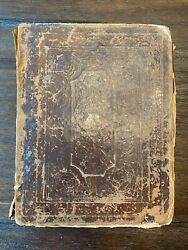 Antique Large Holy Bible Old And New Testament 1840s Family History Inside 11.75