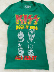 🎸NEW KISS the band Authentic Graphic T Shirt Emerald Green Size Small Women $9.99