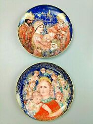 L👀k 🔥 Pair Of Edna Hibel Christmas Plates 1985 And 1986 By Edwin M. Knowles