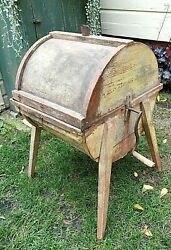 Antique Primitive Yellow Chippy Painted Wooden Butter Churn Bakery Dairy Milk