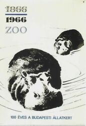 Original Vintage Poster Hungarian Zoo Budapest Hippo 1966