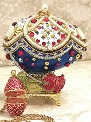 Limited Edition Faberge Egg Real Egg Ruby Jewelry Set 24k Gold Russia Gift Hmade