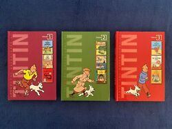 3 Lot Childrenand039s Books By Herge The Adventures Of Tintin Series 1-3 Hardcovers
