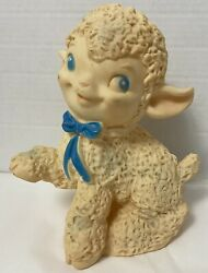 Vintage Ashland Rubber Squeak Toy White Lamb With Hat