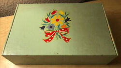 Old Vintage Green Painted And Meyers Flower Decaled Cigar Box W/ Wood Partitions