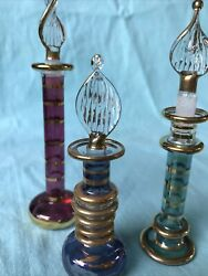 """Set Of 3 Vintage Glass Egyptian Perfume Bottle With Stopper, Collectible 4"""" Lot2"""