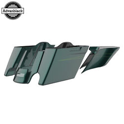 Deep Jade Pearl Stretched Extend Saddlebags With Pinstripes For 2014+ Harley
