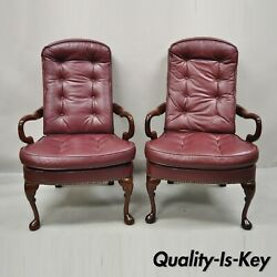 St Timothy Chair Co Burgundy Leather Queen Anne Library Office Arm Chairs - Pair