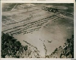 Vintage Aerial View Of Ford Airport At Fort Wayne In Air Show Event Photo 8x10