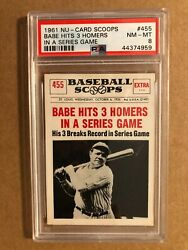 1961 Nu-cards Baseball Scoops 455 Babe Hits 3 Homers In A Series Game Psa 8
