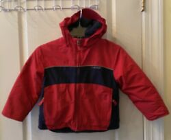 Lands End Red Blue Hooded Insulated Snow Jacket Skiing Youth Size Small 5-6