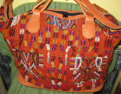 Big And Beautiful Hiupil Bag Embroidery And Leather - Guatemala - Excellent