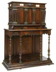 Antique Cabinet, French Oak Credence Cupboard On Stand, Marble Plaques, 1800's