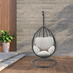 Hanging Egg Chair With Stand Swing Chair W/ Cushion Pillow Patio Garden Hammock