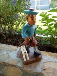 Extremely Rare Tintin With Snowy Scottish Big Vintage Wooden Figurine Statue