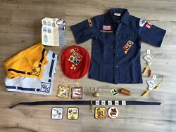 Blue Short Sleeve Cub Scout Official Youth Size 10 1980s Patches Badges Scarves