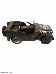 Antique Tri-ang Minic Toys England Wind Up Army Jeep