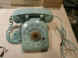 Vintage Bell System Western Electric-teal Aqua -rotary Dial Desk Phone Telephone