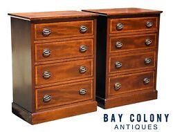 20th C Federal Antique Style Pair Of Mahogany Bachelors Chests / Nightstands