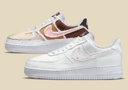 Nike Womenand039s Air Force 1 And03907 Prm Shoes Tearaway White Fauna Brown Dj9941-244