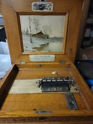 Antique Olympia Coin Op Music Box Rare Oak Cabinet Looks Plays Beautiful