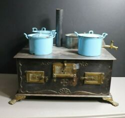 Antique German Toy Stove 4 Hole By Bing 1900-10 3 Graniteware Blue Pots H2o Pot