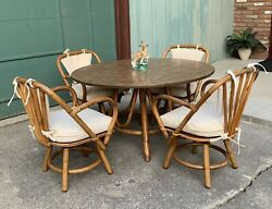 Mcm Vintage Rattan Bamboo Tiki 5 Piece Round Dining Table And Swivel Chairs Set
