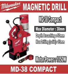 Milwaukee Md 38 Magnetic Drill Press Stand Compact Euro Plug W/ Us Adapter 1050w